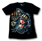 Load image into Gallery viewer, Skull with Torn Gown and Chain holding Sand Timer Glow in the Dark 4D Caballo T-Shirt