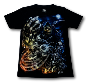Skull holding Compass Glow in the Dark 4D Caballo T-Shirt