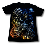 Load image into Gallery viewer, Skull holding Compass Glow in the Dark 4D Caballo T-Shirt