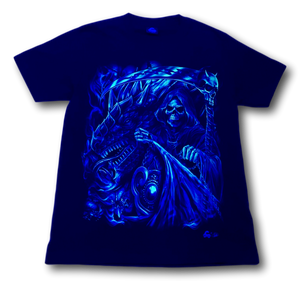 Reaper Skull with Dragon Head Glow in the Dark 4D Caballo T-Shirt