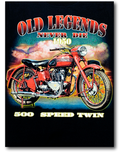Old Legends Never Die 1950 Biker Glow in the Dark HD Hot Rock T-Shirt