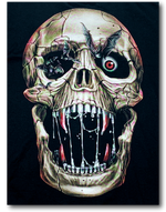 Load image into Gallery viewer, Skull Open Mouth with Bats Glow in the Dark HD Rock Eagle T-Shirt