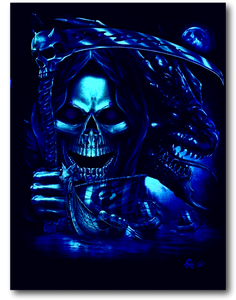 Reaper Skull with Dragon and Boat Glow in the Dark 4D Caballo T-Shirt