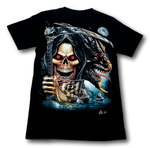 Load image into Gallery viewer, Reaper Skull with Dragon and Boat Glow in the Dark 4D Caballo T-Shirt