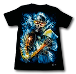 Load image into Gallery viewer, Fireman Skull holding Axe Glow in the Dark 4D Caballo T-Shirt
