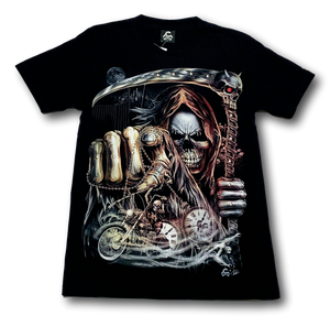 Reaper Skull with Gown Pointing Glow in the Dark 4D Caballo T-Shirt
