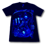 Load image into Gallery viewer, Reaper Skull with Gown Pointing Glow in the Dark 4D Caballo T-Shirt