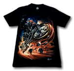 Load image into Gallery viewer, Skull Biker with Red Head Band and Metal Ring Glow in the Dark 4D Caballo T-Shirt