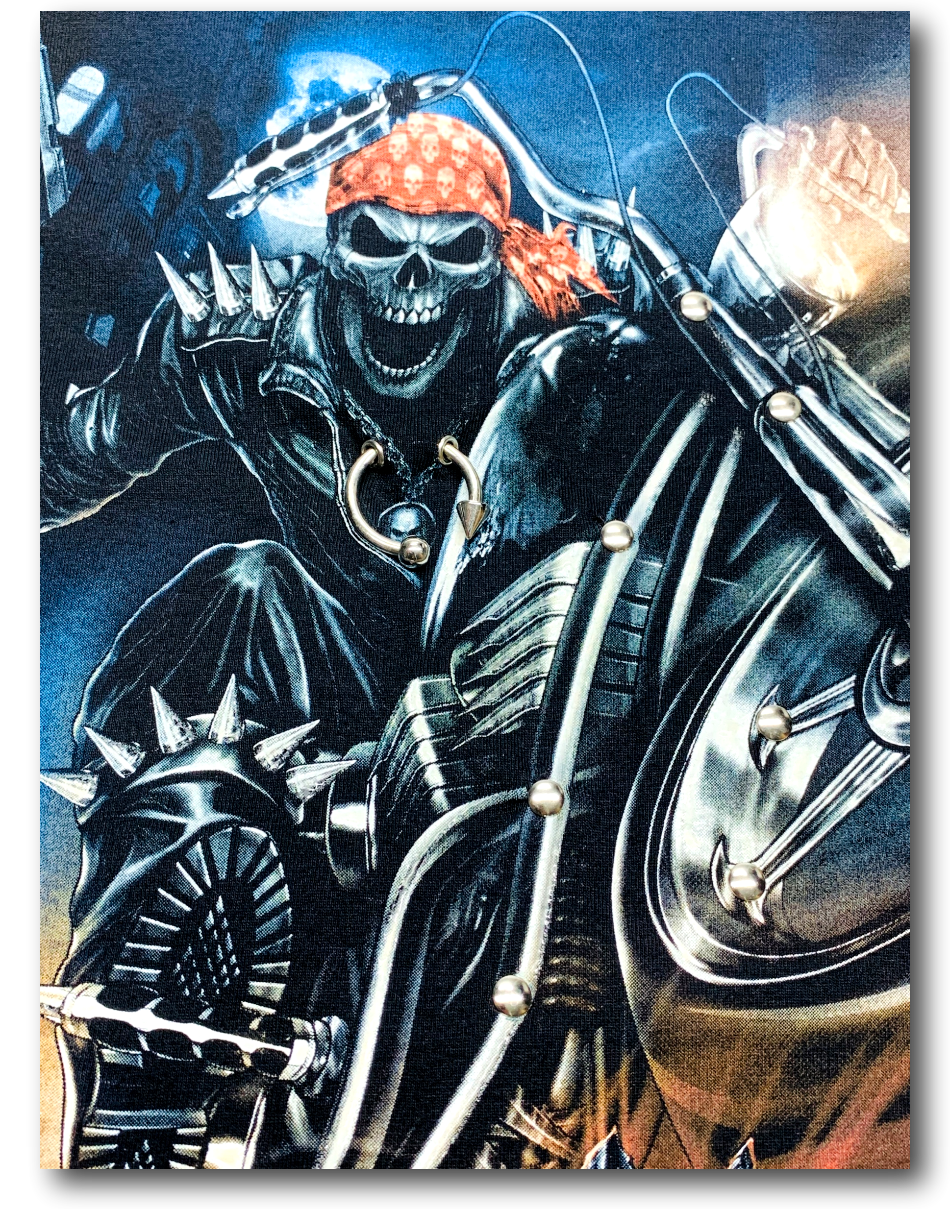 Skull Biker with Red Head Band and Metal Ring Glow in the Dark 4D Caballo T-Shirt