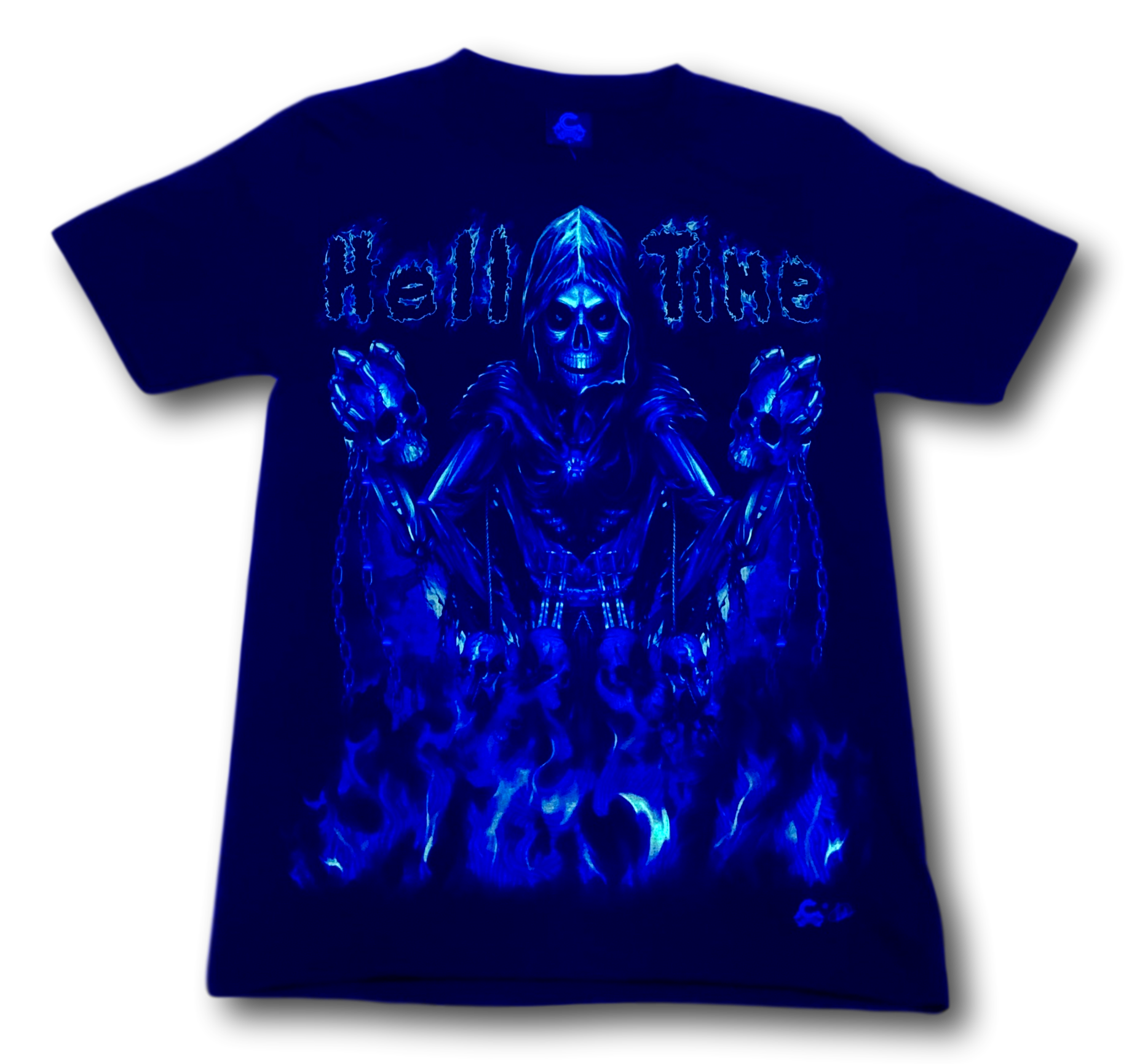 Skull in Hell Time and Metal Ring Glow in the Dark 4D Caballo T-Shirt