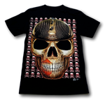 Load image into Gallery viewer, Skull Head with Studded Helmet and Metal Nose Ring Glow in the Dark 4D Caballo T-Shirt