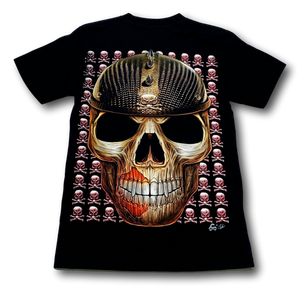 Skull Head with Studded Helmet and Metal Nose Ring Glow in the Dark 4D Caballo T-Shirt