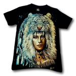 Load image into Gallery viewer, Native Indian Lady with Tiger Crown Metal Nose Ring Glow in the Dark 4D Caballo T-Shirt
