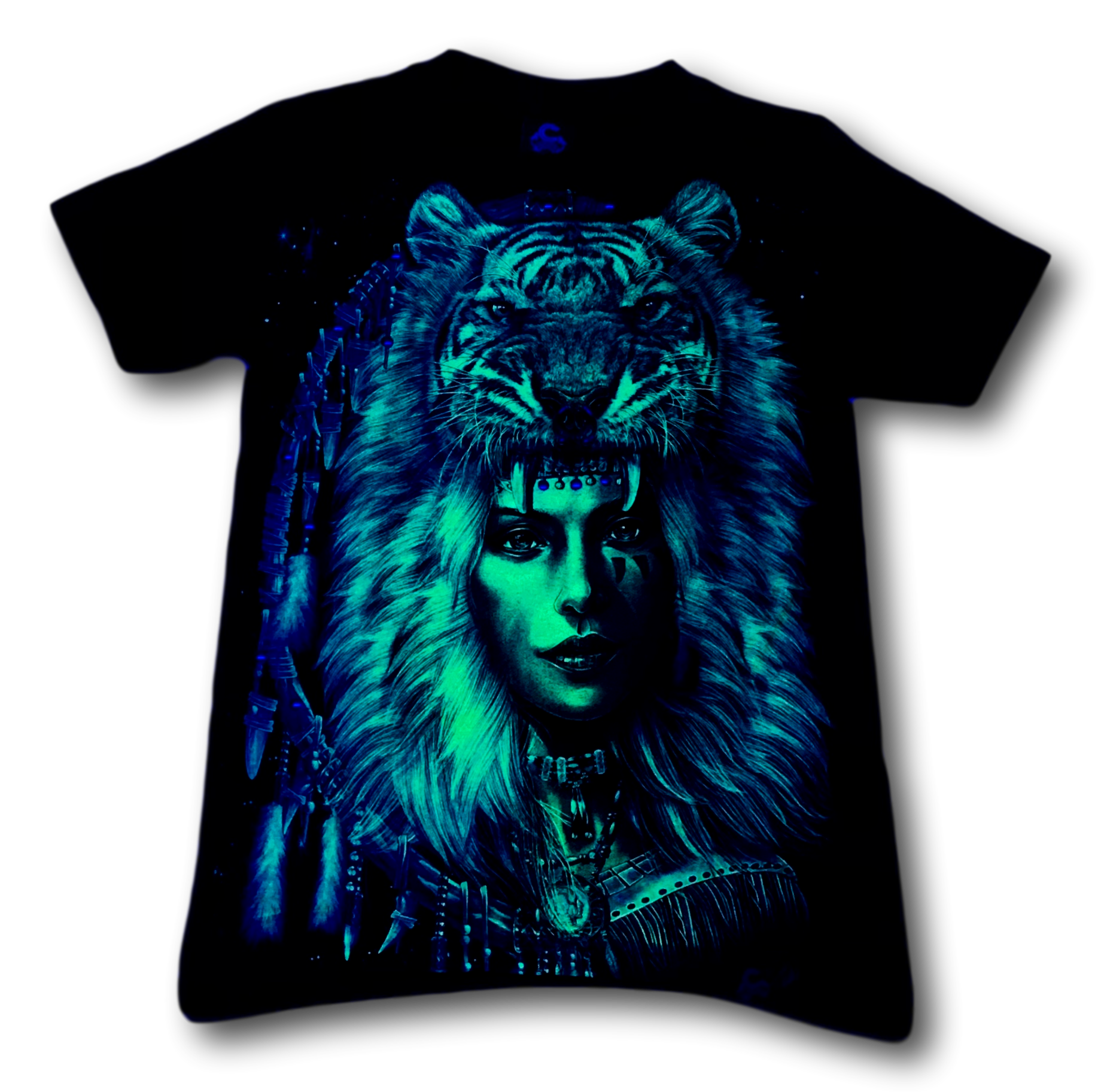 Native Indian Lady with Tiger Crown Metal Nose Ring Glow in the Dark 4D Caballo T-Shirt