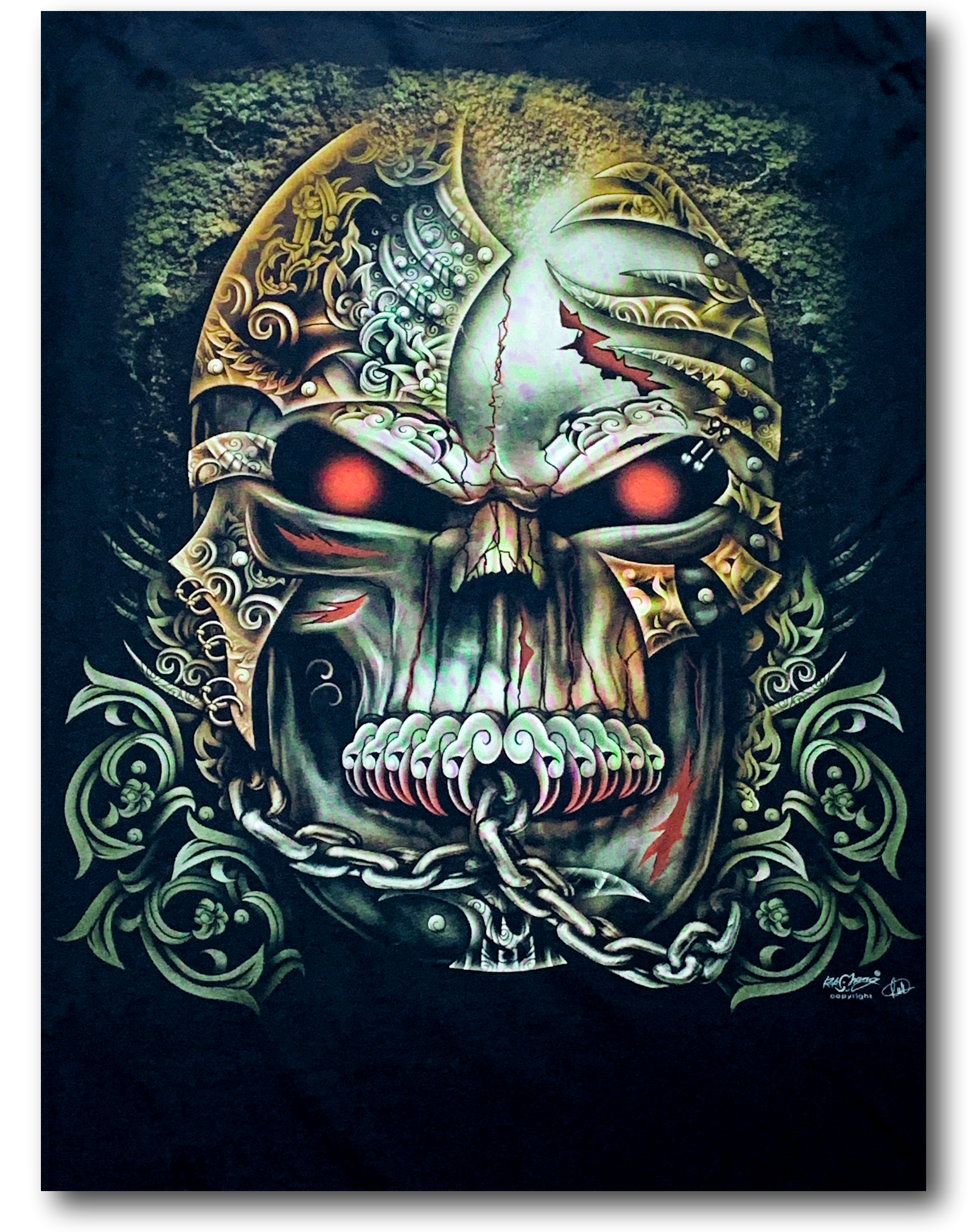 Tattoo Skull Head Red Eyes and Chain Glow in the Dark HD Rock Chang T-Shirt