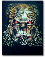 Load image into Gallery viewer, Tattoo Skull Head Red Eyes and Chain Glow in the Dark HD Rock Chang T-Shirt