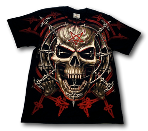 Skull with David Star Glow in the Dark HD Rock Eagle T-Shirt