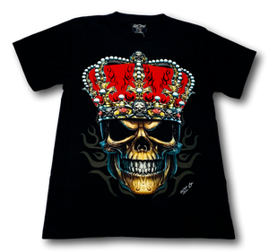 Skull with Red King Crown and Metal Nose ring Glow in the Dark HD Rock Chang T-Shirt