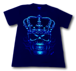 Load image into Gallery viewer, Skull with Red King Crown and Metal Nose ring Glow in the Dark HD Rock Chang T-Shirt