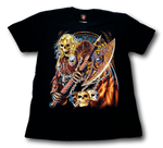 Load image into Gallery viewer, Blonde Skull Holding Axe and Shield Glow in the Dark HD Hot Rock T-Shirt