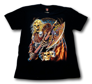 Blonde Skull Holding Axe and Shield Glow in the Dark HD Hot Rock T-Shirt