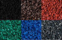 colored rubber mulch collage
