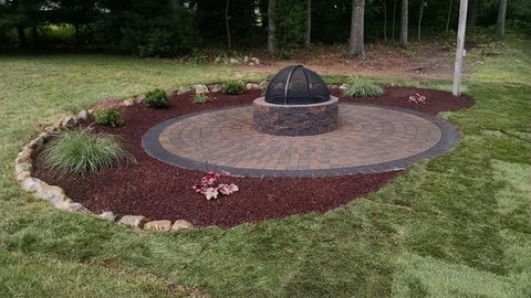 If For Some Reason Grass Doesnu0027t Thrive In Your Backyard, You Can Transform  It Into A Beach Style Patio Complete With A Fire Pit Instead. Red Rubber  Mulch ...