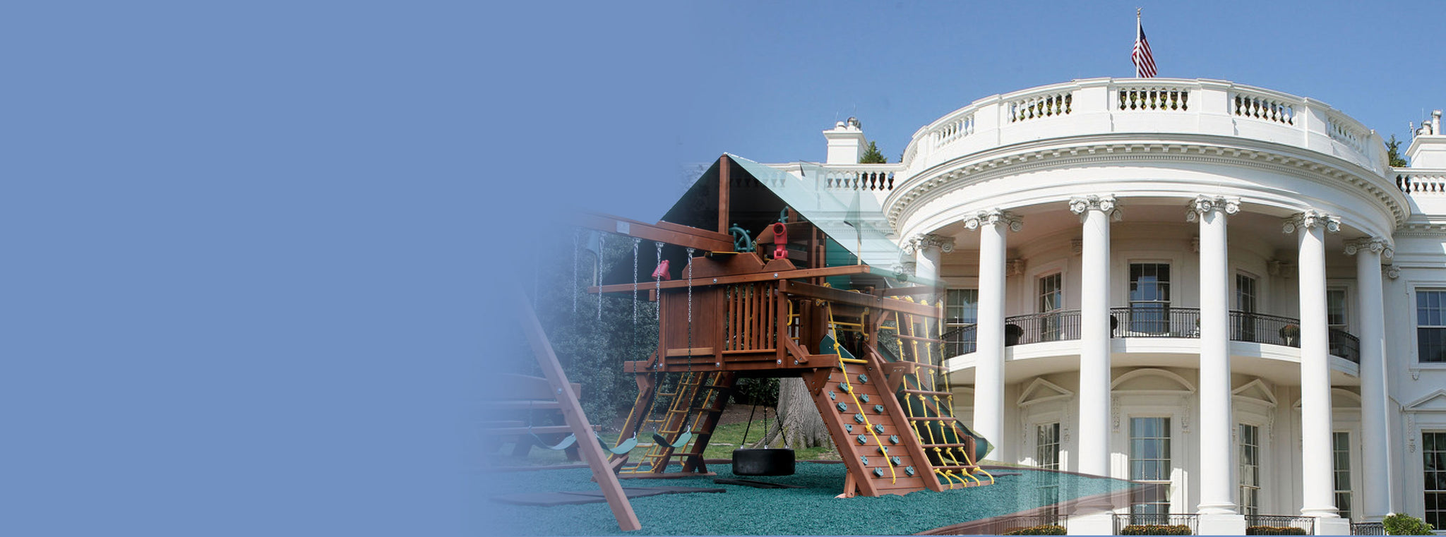 playset with rubber mulch on the white house lawn
