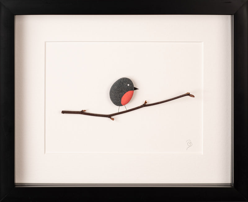 The Mourne Robin Pebble Art Picture