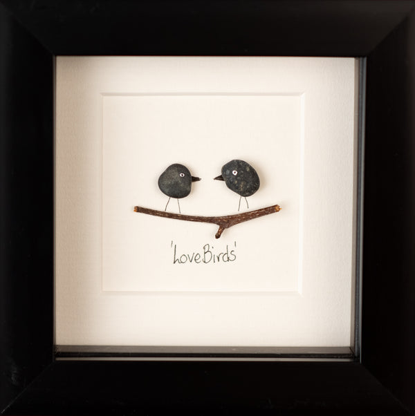 Mini Love Birds Pebble Picture