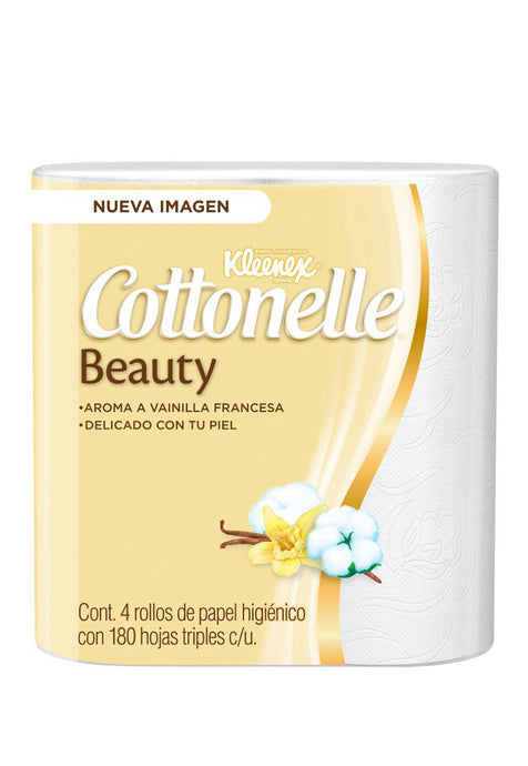 Papel Higiénico Kleenex Cottonelle Beauty 180 HD, 4 Rollos