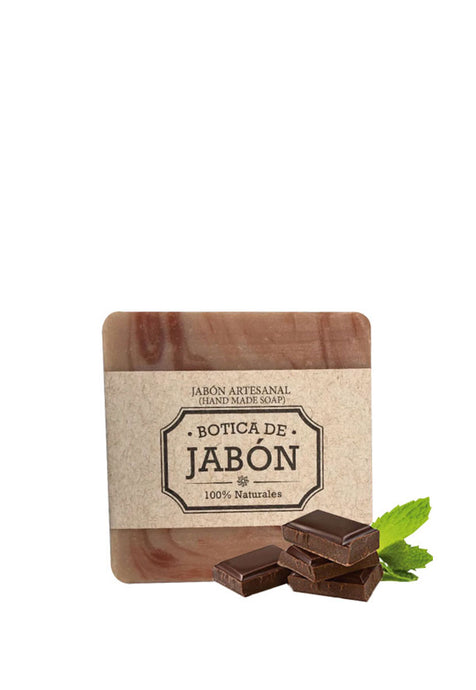 Jabón Artesanal 100% Natural y Biodegradable Chocolate y Menta, Botica de Jabón 100 g