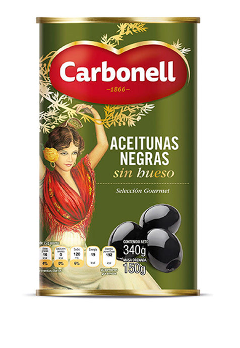 Aceituna Carbonell Negra Sin Hueso 340 g