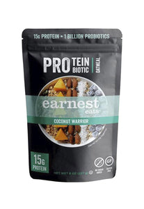 Protein & Probiotic Oatmeal Pantry Bags Coconut Warrior Earnest Eats 227 g