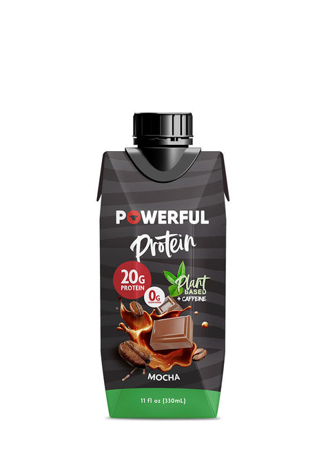 Powerful Protein Mocha Plant Based, 4 pzas de 330 ml c/u