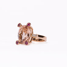 Load image into Gallery viewer, Ring Morganite & Pink Rubies with Diamonds