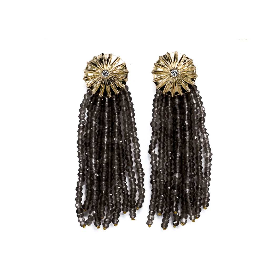 Parapluie Smoky quartz & gold earrings