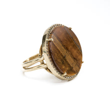"Load image into Gallery viewer, ""Natalie"" Tigereye & Diamonds Ring"