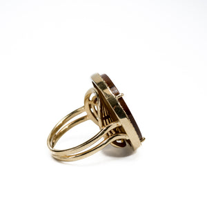 """Natalie"" Tigereye & Diamonds Ring"