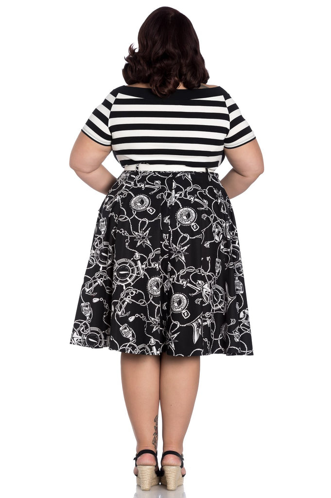 nautical print skirt