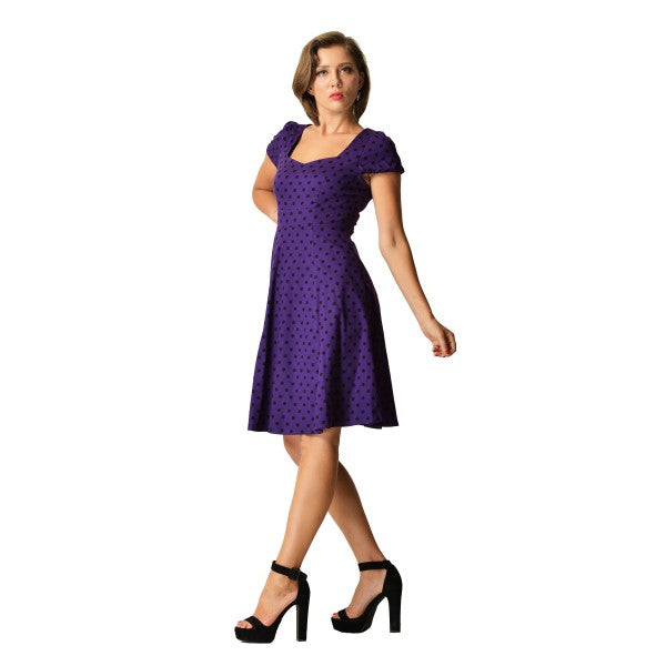Claudia Purple & Black Spot Dress