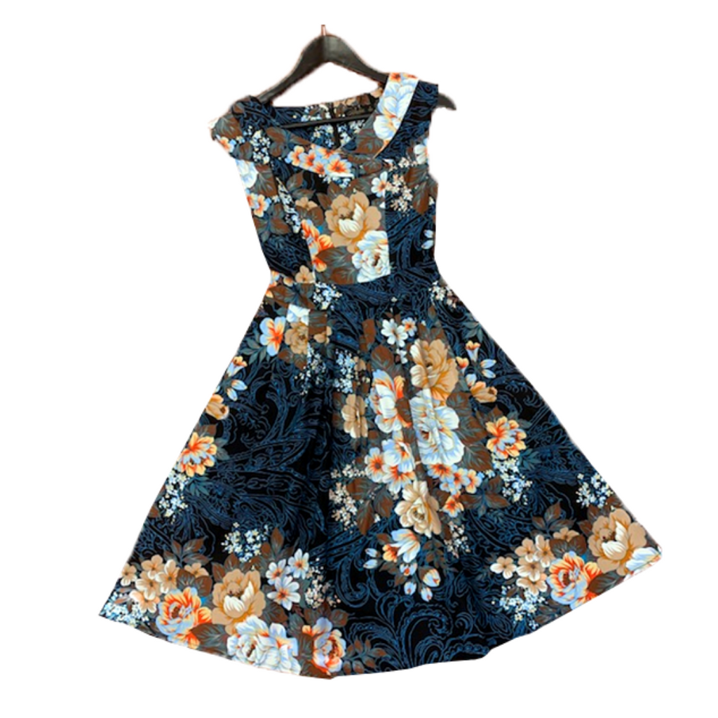 Elise Navy Taupe Floral Dress