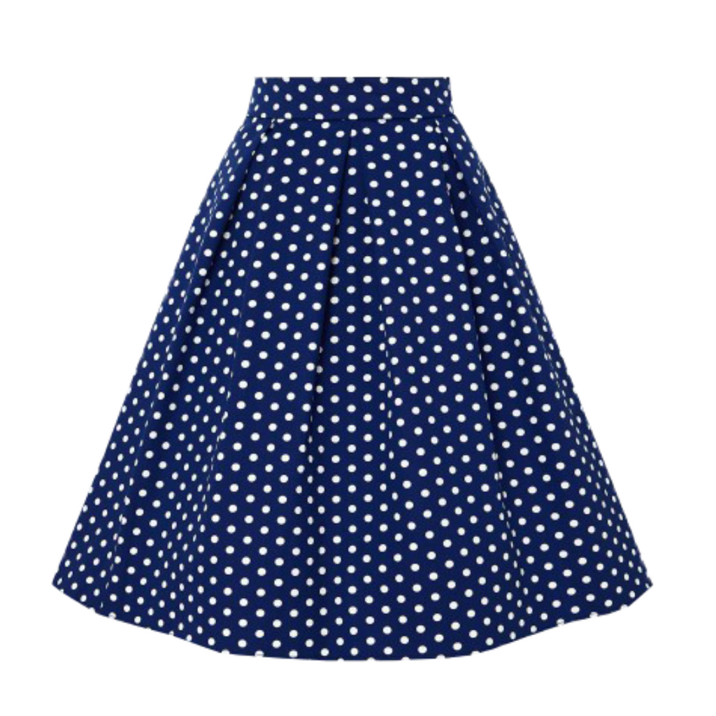 Rhonda Pleated Skirt Navy/White Polka