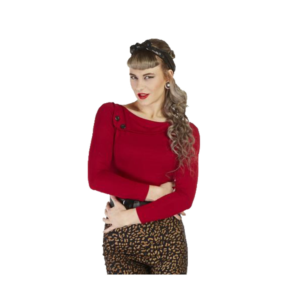 Sass Top Long Sleeve Red