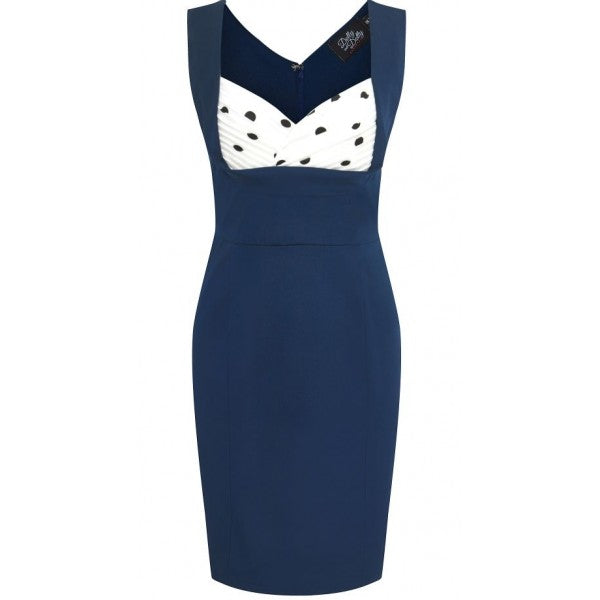 Vivian Wiggle Dress Navy Polka