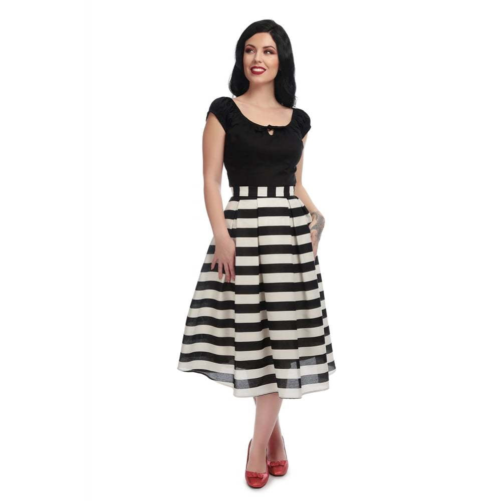 Marilu Striped Swing Skirt