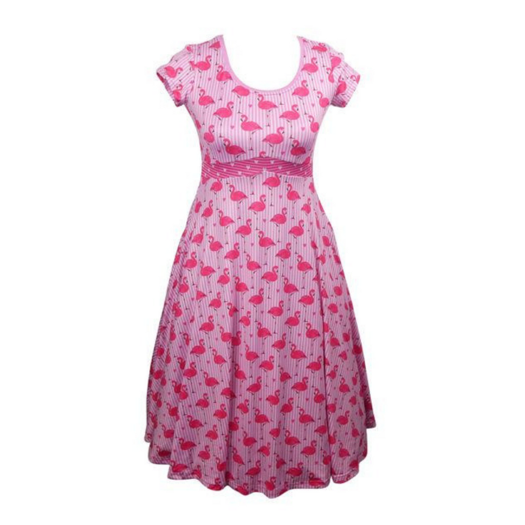 flamingo tea dress