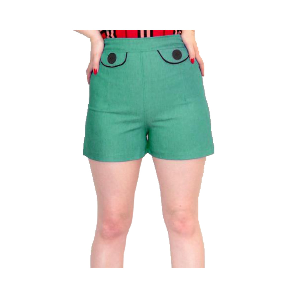 green high waisted shorts