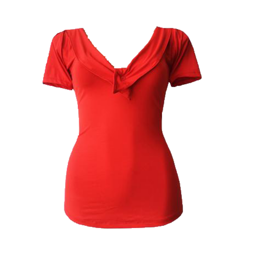 women's v neck top red
