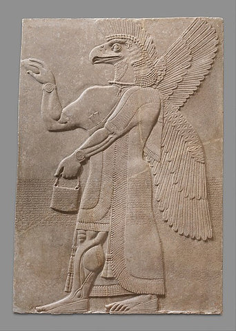 Relief panel Period:Neo-Assyrian Date:ca. 883–859 B.C. Geography:Mesopotamia, Nimrud (ancient Kalhu) Culture:Assyrian Medium:Gypsum alabaster Location: The Metropolitan Museum of Art, New York Image: Public Domain